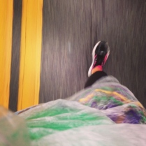 Halfway! Trashbag, mardi gras tutu and Saucony Kinvaras. No hills yet!