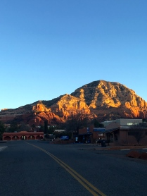 Sun rising on the red rocks